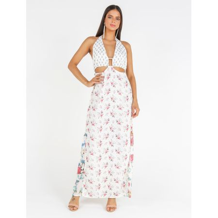 Vestido Longo De Crepe E Tule Estampa Mix Floral C