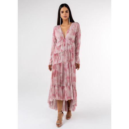 Vestido Longo Decote V Estampa Tie Dye