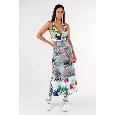 Vestido Midi De Tela Estampa Floral