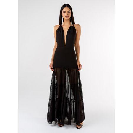 Vestido Longo De Tule Com Macramê