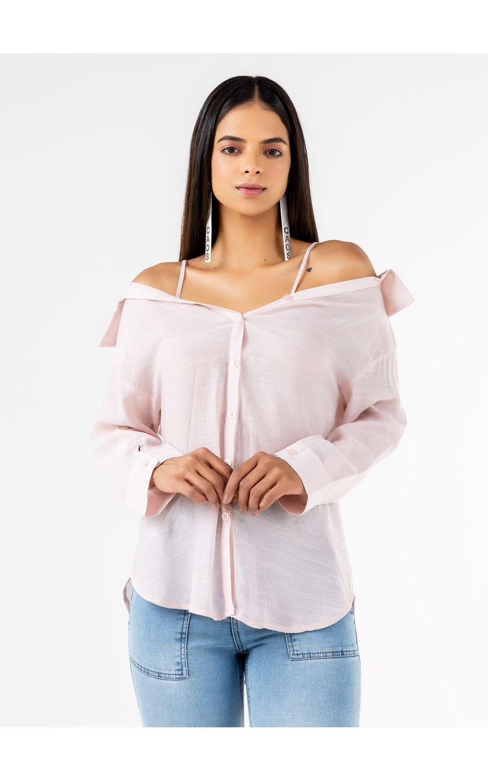 Foto 2 - Camisa  Ombro A Ombro Com Alça