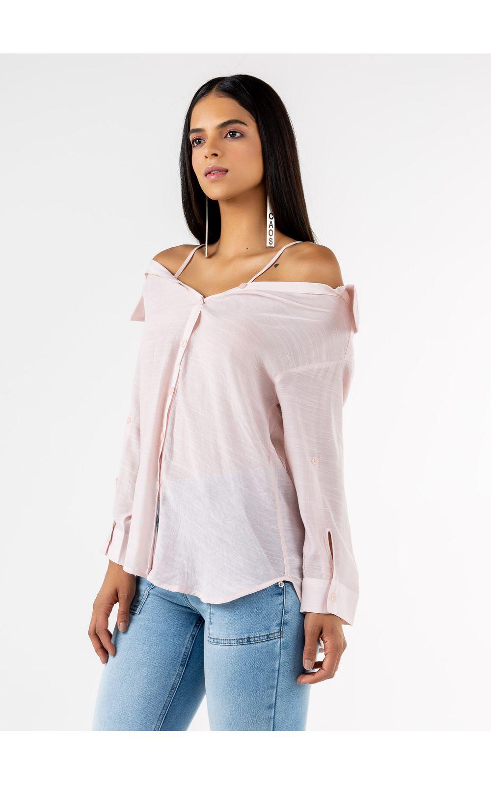 Foto 3 - Camisa  Ombro A Ombro Com Alça