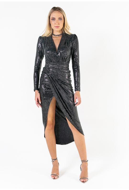Vestido-Longo-De-Paete-Trespassado-Com-Pregas