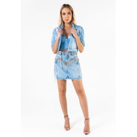 Jaqueta Jeans Cropped Com Bordado