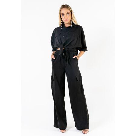 Conjunto De Viscose Blusa De Amarrar Calça Com Bol