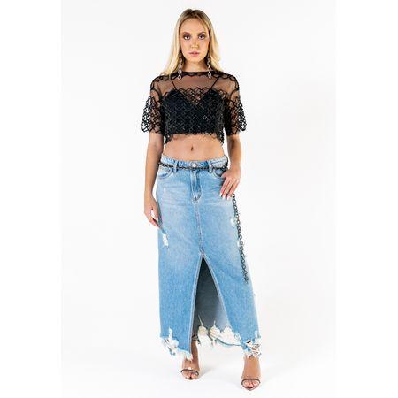 Saia Jeans Longa Com Fenda Na Frente