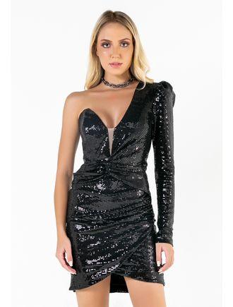 Vestido-Curto-De-Paete-Um-Ombro-So