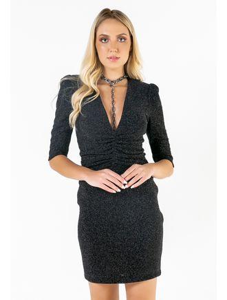 Vestido-Curto-Maxidecote-Com-Franzido-Na-Frente
