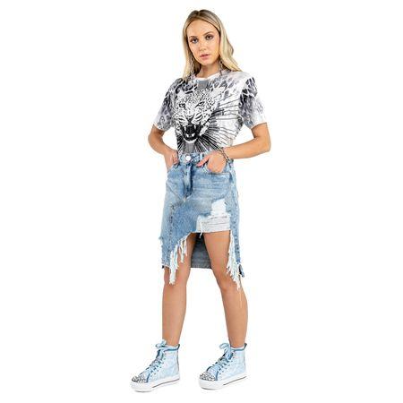 Saia Jeans Assímetrica