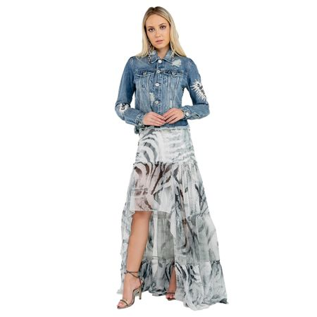 Jaqueta Jeans Com Silk Onça