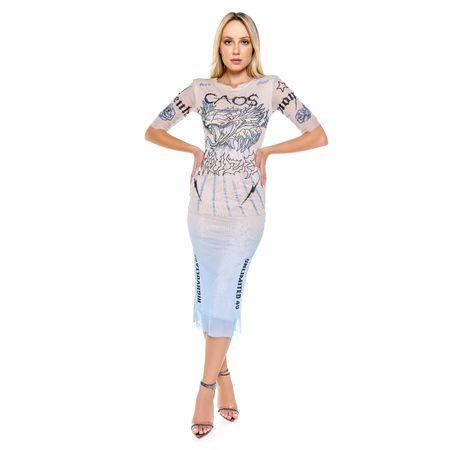 Vestido Midi De Tule Com Silk