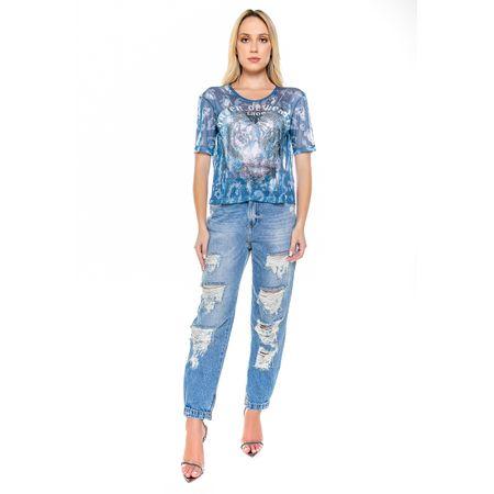 Blusa Estampada Azul Com Transfer