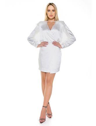 Vestido-Curto-De-Cetim-Off-White-Com-Plumas