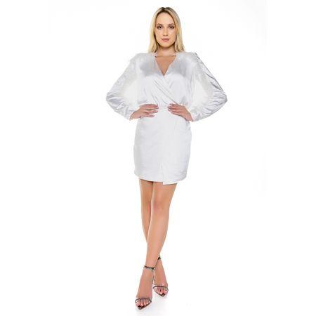 Vestido Curto De Cetim Off White Com Plumas
