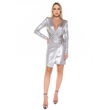 Vestido Curto Metálico Prata Claro