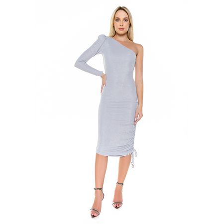 Vestido Curto Lurex Off White