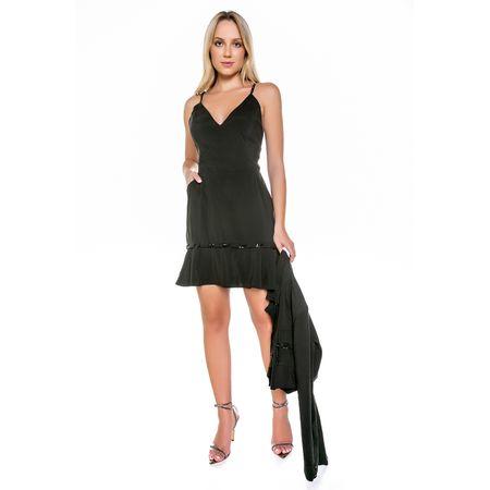 Conjunto De Viscose Vestido E Casaco Com Bordado C