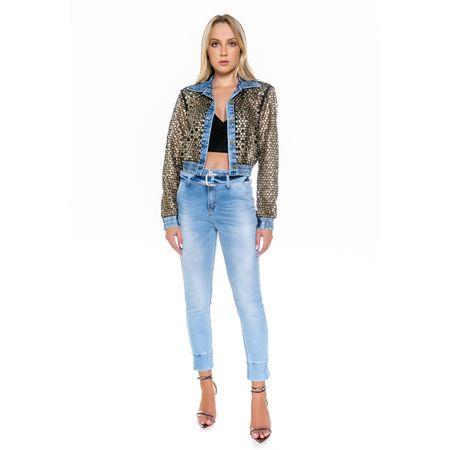 Jaqueta Jeans Com Ilhós