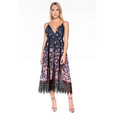 Vestido Midi Rosa De Alça Com Detalhes Em Renda