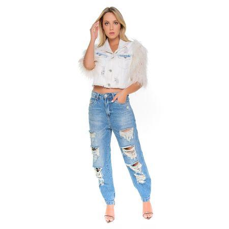 Jaqueta Jeans Claro Com Plumas