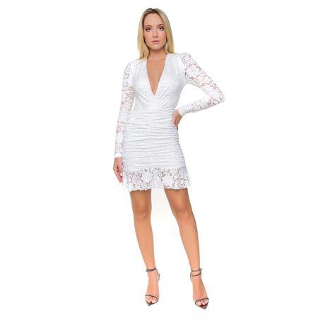 Vestido Curto Em Renda Off White