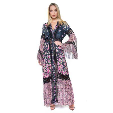 Vestido Longo Estampado Com Renda Rosa