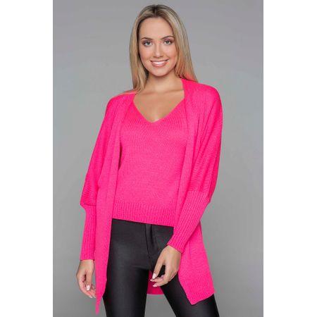 Camisa Com Cardigan De Tricot Rosa Neon