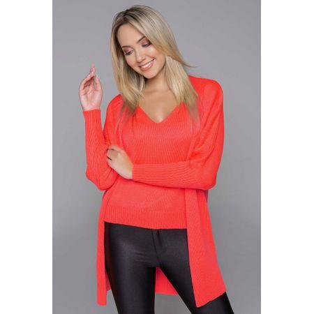 Camisa Com Cardigan De Tricot Laranja Neon