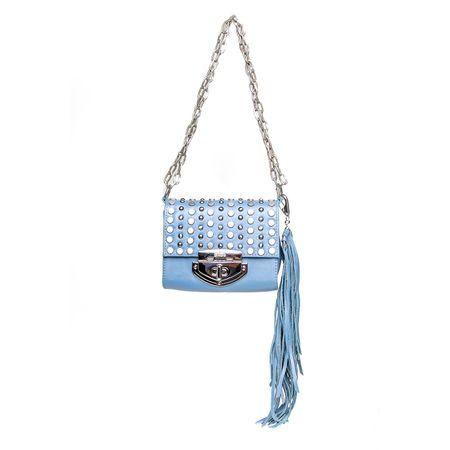Bolsa Azul Com Tachas E Alça De Correntes