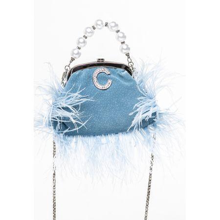 Bolsa Azul Com Plumas E Pérolas