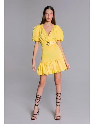 Vestido-curto-de-tricoline-amarelo