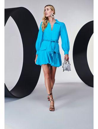 Vestido-Curto-De-Linho-Com-Corda-Na-Cintura-E-Lape-Azul-Piscina
