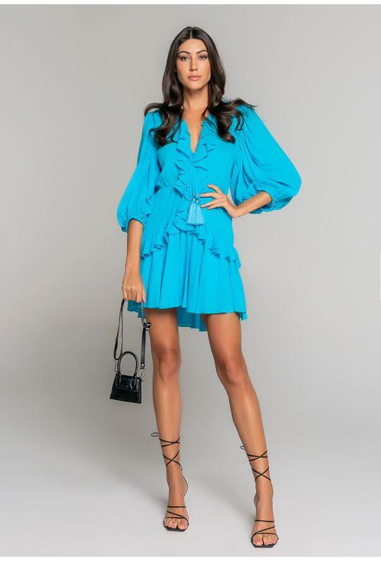 Vestido-Curto-Com-Babados-No-Decote-E-Saia-E-Manga-Azul-Piscina