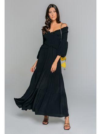 Vestido-Longo-De-Mangas-C--Lastex-Preto