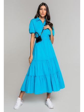 Vestido-Longo-De-Tricoline-Com-Cinto-Azul-Piscina