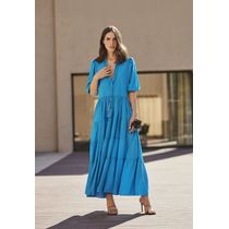 Vestido-Longo-De-Gola-Com-Pompom-E-Cabuchon-Azul-Piscina