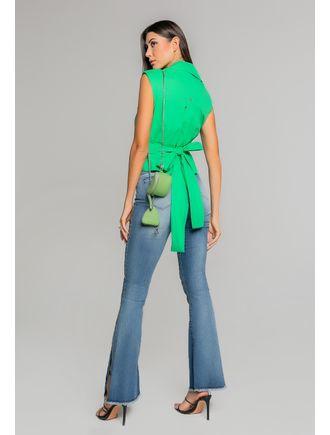 Camiseta-C--Gola-E-Patte--Com-Laco-Para-Amarracao-Verde