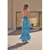 Vestido-Longo-Frente-Unica-E-Babados-Na-Saia-C--Ca-Azul-Turquesa