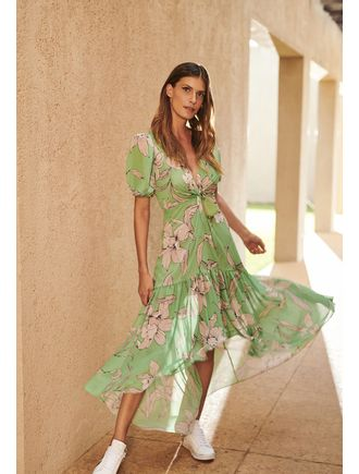 Vestido-Longo-Estampa-Orchid-Decote-V-Verde