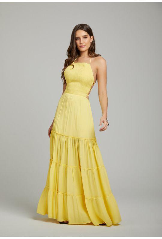Vestido-Longo-Frente-Unica-C--Lastex-Amarelo