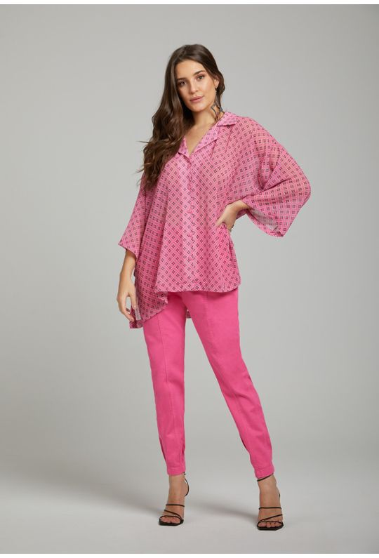 Camisa-Solta-Com-Botoes-Rosa-Chiclete