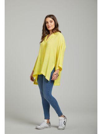 Camisa-Ampla-Com-Botoes-Amarelo-Claro