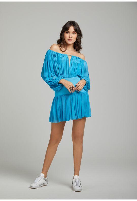 Vestido-Curto-De-Tule-Decote-Ombro-A-Ombro-Bainha-Azul-Piscina