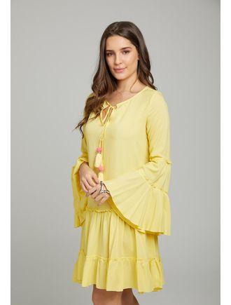 Vestido-Curto--C--Rolote-No-Decote-E-Aviamento-De-Amarelo