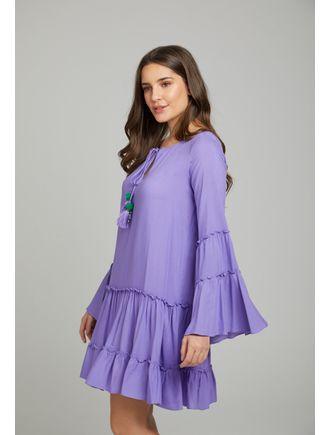 Vestido-Curto--C--Rolote-No-Decote-E-Aviamento-De-Roxo-Claro