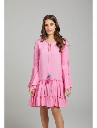 Vestido-Curto--C--Rolote-No-Decote-E-Aviamento-De-Rosa-Chiclete