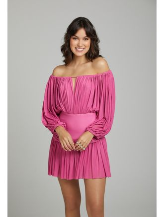 Vestido-Curto-De-Tule-Decote-Ombro-A-Ombro-Bainha-Rosa-Chiclete