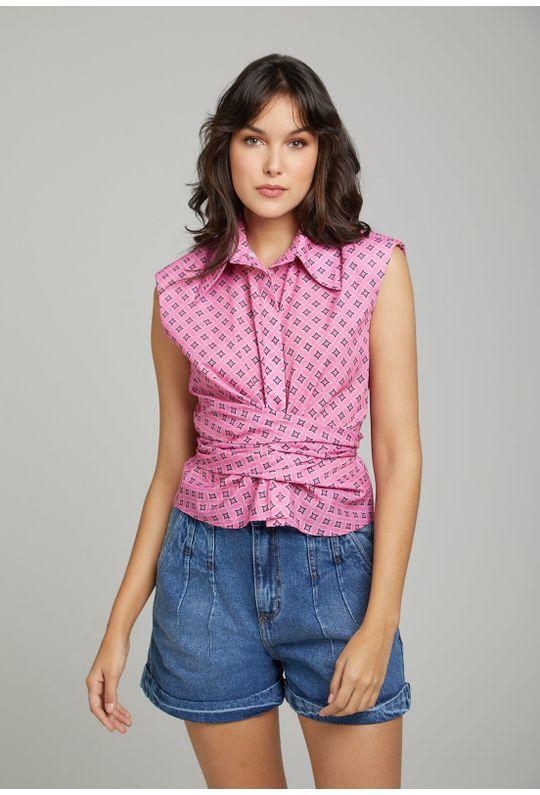 Camiseta-C--Gola-E-Patte-Com-Laco-Para-Amarracao-RosaChiclete