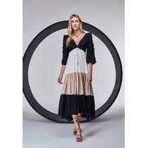 Vestido-Longo-Tricolor-Com-Mangas-Bufantes-Preto