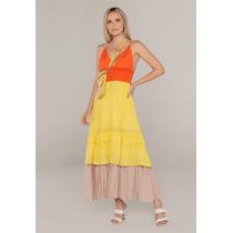 Vestido-Longo-Com-Babados-Laranja-Amarelo-E-Bege
